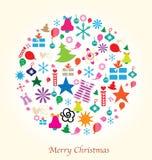 De vrolijke elementen van het Ontwerp van Kerstmis Stock Fotografie