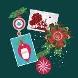 De vrolijke elementen van Kerstmis Stock Afbeelding