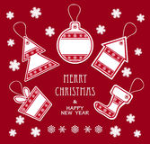De vrolijke etiketten van Kerstmis en van het Nieuwjaar in rode kleur Stock Foto