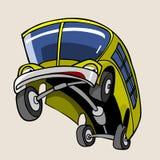 De vrolijke gele grootgebrachte bus van het beeldverhaalkarakter royalty-vrije illustratie