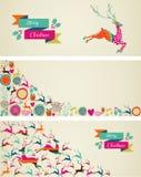 De vrolijke geplaatste banners van het het malplaatjeweb van Kerstmiselementen. Stock Afbeeldingen