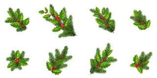 De vrolijke geplaatste elementen van het Kerstmisontwerp Kerstmisdecoratie Spar royalty-vrije stock afbeeldingen