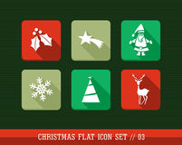 De vrolijke geplaatste pictogrammen van het Kerstmis kleurrijke Web apps vlak. Stock Foto