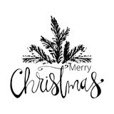 De vrolijke getrokken Hand van Kerstmis Stock Foto