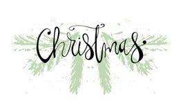 De vrolijke getrokken Hand van Kerstmis Stock Afbeelding