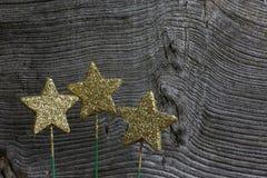 De vrolijke Gouden Sterren van de Kerstmisdecoratie op Groene Stokken Stock Foto