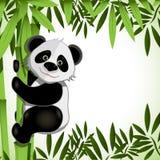 Vrolijke panda op bamboe royalty-vrije illustratie