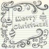 De vrolijke Hand-Drawn Schetsmatige Krabbels van Kerstmis Royalty-vrije Stock Fotografie