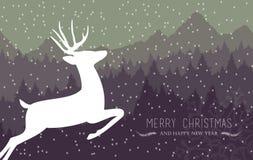 De vrolijke herten van de de vakantiekaart van het Kerstmis gelukkige nieuwe jaar Stock Foto's