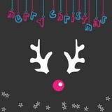 De vrolijke illustratie van het Kerstmisrendier Stock Foto's