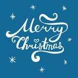 De vrolijke inschrijving van Kerstmis Hand het getrokken van letters voorzien met krommen Royalty-vrije Stock Foto's