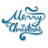 De vrolijke inschrijving van Kerstmis Hand het getrokken van letters voorzien met krommen Royalty-vrije Stock Foto