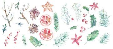 De vrolijke inzameling van de Kerstmiswaterverf Hand getrokken elementen stock foto's