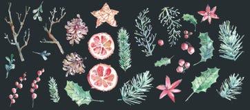 De vrolijke inzameling van de Kerstmiswaterverf Hand getrokken elementen royalty-vrije stock afbeelding