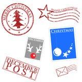 De vrolijke inzameling van Kerstmiszegels Stock Afbeeldingen
