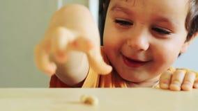De vrolijke jongen heeft pret stock videobeelden