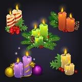 De vrolijke kaarsen van Kerstmis Stock Foto's