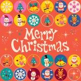 De vrolijke kaart van de Kerstmis retro groet Stock Afbeelding