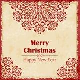 De vrolijke kaart van de Kerstmisgroet De abstracte Gelukkige achtergrond van het Nieuwjaar Hand getrokken inschrijving Vector il Stock Afbeelding
