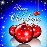 De vrolijke kaart van de Kerstmisgroet met Kerstmisballen en Stock Afbeeldingen