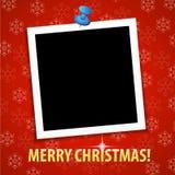 De vrolijke kaart van de Kerstmisgroet met leeg fotokader Royalty-vrije Stock Foto
