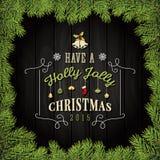 De vrolijke Kaart van de Kerstmisgroet met Ornamenten Royalty-vrije Stock Afbeelding