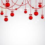 De vrolijke kaart van de Kerstmisgroet met snuisterij Stock Foto's