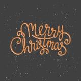 De vrolijke kaart van de Kerstmisgroet op donkere achtergrond met sneeuw De affichemalplaatje van de seizoen vectorvakantie Stock Afbeelding