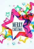 De vrolijke kaart van de Kerstmisgroet Vector illustratie Stock Afbeeldingen