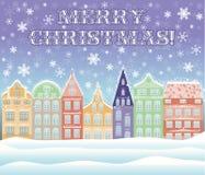 De vrolijke kaart van de Kerstmisstad Stock Afbeeldingen