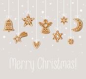 De vrolijke kaart van de Kerstmisvakantie royalty-vrije illustratie