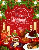De vrolijke kaart van de het dinergroet van de Kerstmis vectorvooravond royalty-vrije illustratie