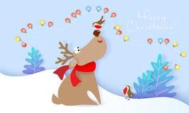 De vrolijke kaart van het Kerstmisontwerp met Herten en vogel stock illustratie
