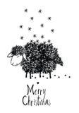 De vrolijke kaart van het Kerstmisontwerp met schapen stock illustratie
