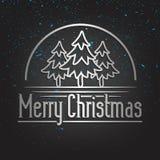 De vrolijke Kaart van de Kerstmis Gouden Van letters voorziende Groet stock illustratie