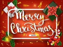De vrolijke kaart van de Kerstmis van letters voorziende groet voor vakantie Het gouden Glanzen Decoratieornament met met sneeuwv stock foto