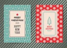 De vrolijke kaart van de Kerstmis vector grafische groet Stock Afbeelding