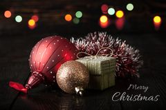 De vrolijke kaart van de Kerstmisdecoratie Stock Afbeelding