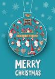 De vrolijke kaart van de Kerstmisgroet Stock Foto's