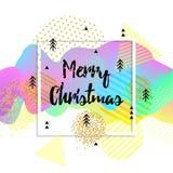 De vrolijke kaart van de Kerstmisgroet embleem, kenteken Vierkante affiche Typografie Kleurrijk ontwerp 3d golvende achtergrond Royalty-vrije Stock Fotografie