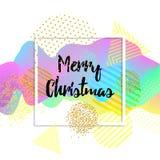 De vrolijke kaart van de Kerstmisgroet embleem, kenteken Vierkante affiche Typografie Kleurrijk ontwerp 3d golvende achtergrond V Stock Foto