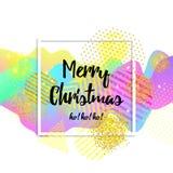 De vrolijke kaart van de Kerstmisgroet embleem, kenteken Vierkante affiche Typografie Kleurrijk ontwerp 3d golvende achtergrond V Royalty-vrije Stock Afbeeldingen