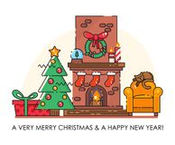 De vrolijke kaart van de Kerstmisgroet De gelukkige wensen van het Nieuwjaar Affiche in vlakke lijn moderne stijl Stock Fotografie