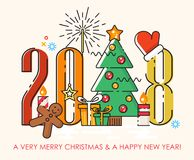 De vrolijke kaart van de Kerstmisgroet 2018 De gelukkige wensen van het Nieuwjaar Affiche in vlakke lijn moderne stijl Royalty-vrije Stock Foto