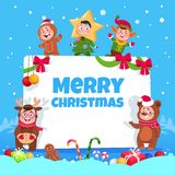 De vrolijke kaart van de Kerstmisgroet Jonge geitjes in Kerstmiskostuums die bij de partij van de de wintervakantie van kinderen  vector illustratie