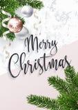 De vrolijke kaart van de Kerstmisgroet Marmer en spar vector illustratie