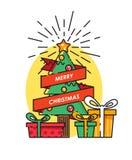 De vrolijke kaart van de Kerstmisgroet met Kerstboom en decorstions De gelukkige wensen van het Nieuwjaar Affiche in vlakke lijn  Royalty-vrije Stock Fotografie