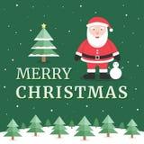 De vrolijke kaart van de Kerstmisgroet met de Kerstman en boom - Vector Stock Illustratie