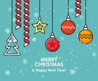 De vrolijke kaart van de Kerstmisgroet met Kerstmisornamenten De gelukkige wensen van het Nieuwjaar Affiche in vlakke lijn modern Royalty-vrije Stock Afbeeldingen