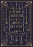 De vrolijke kaart van de Kerstmisgroet met nieuwe jaarstuk speelgoed de stijl gouden kleur van de art decolijn Stock Foto's